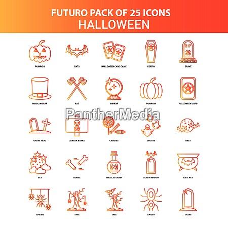 orange futuro 25 halloween icon set