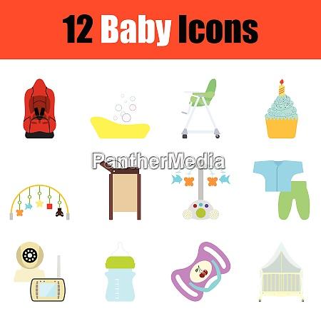 baby icon set color design