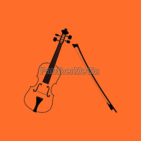 violin icon orange background with black
