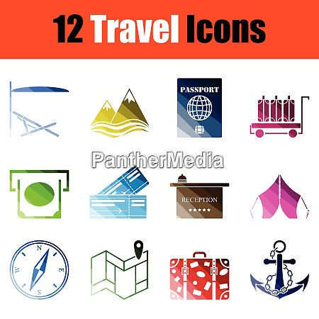 set of travel icons gradient color