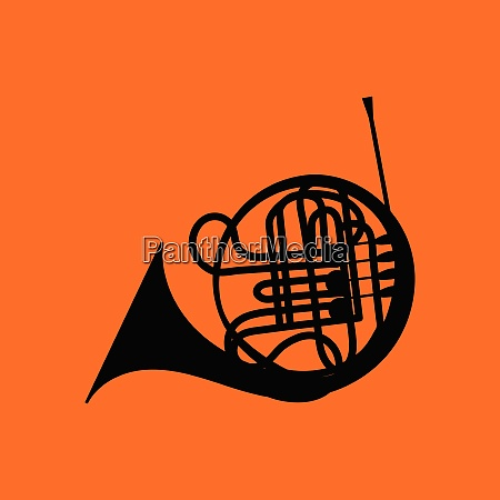 horn icon orange background with black