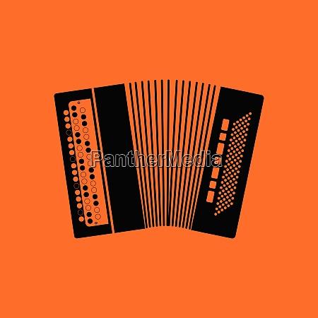 accordion icon orange background with black