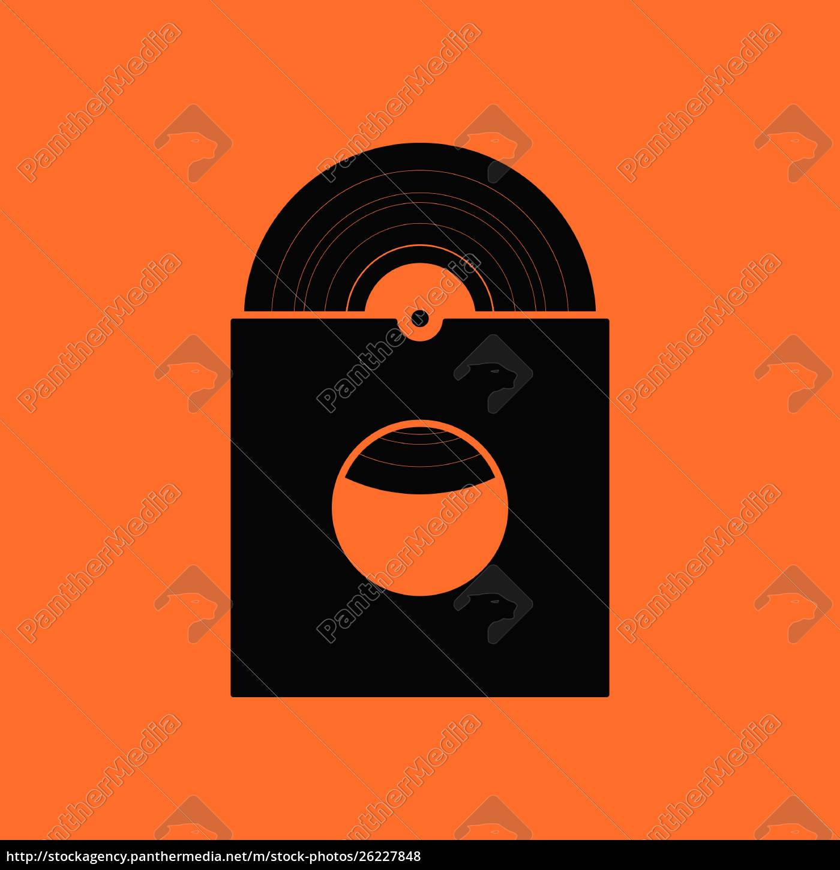 vinyl, record, in, envelope, icon., orange - 26227848