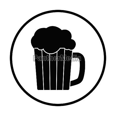 mug of beer icon thin circle