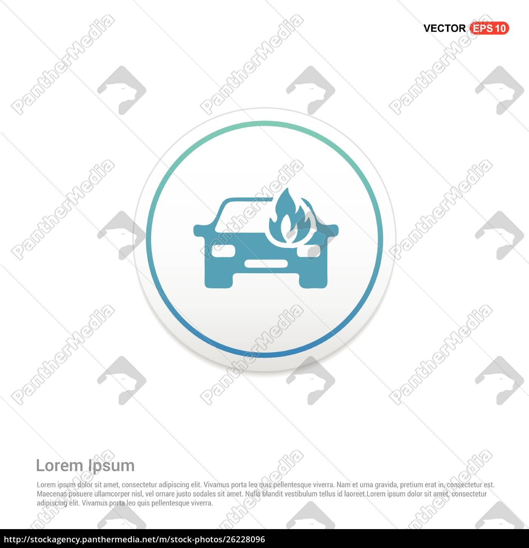 car, crash, accident, icon, hexa, white - 26228096