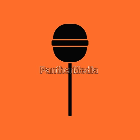 stick candy icon orange background with