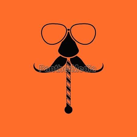 glasses and mustache icon orange background