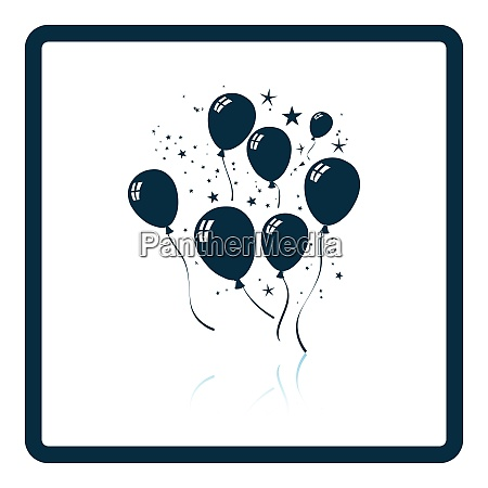 party balloons and stars icon shadow