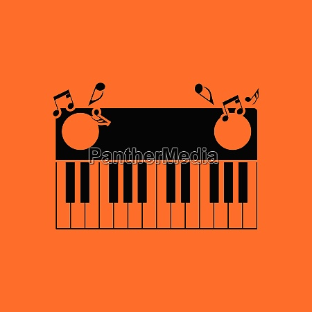 piano keyboard icon orange background with