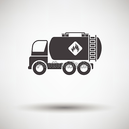 fuel tank truck icon on gray