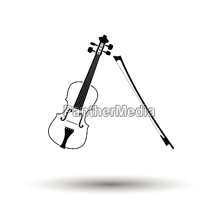 violin icon white background with shadow