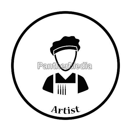 artist icon thin circle design vector