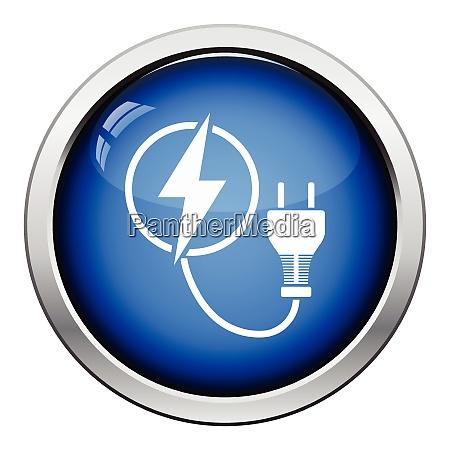 electric plug icon glossy button design