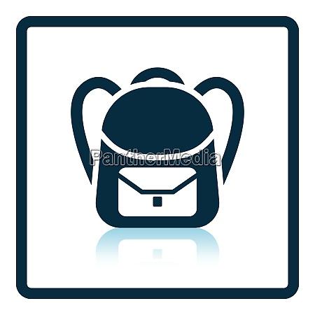 icon of school rucksack shadow reflection