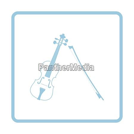 violin icon blue frame design vector