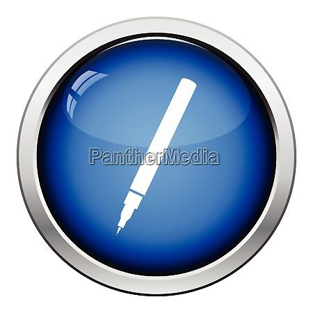 liner pen icon glossy button design