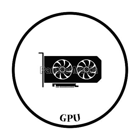 gpu icon flat color design vector