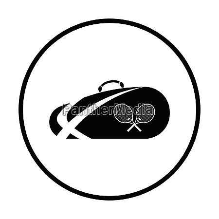 tennis bag icon thin circle design