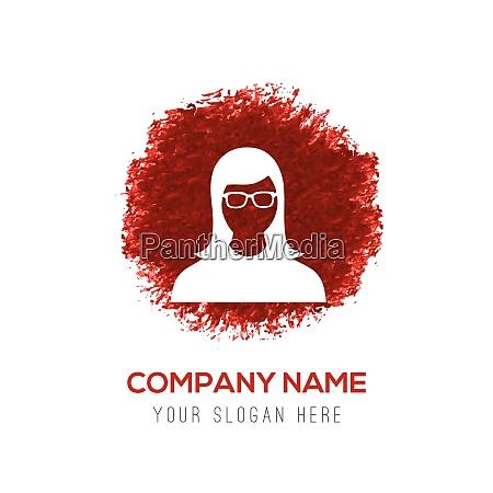 female user icon red watercolor