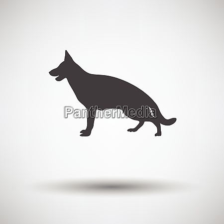 german shepherd icon on gray background