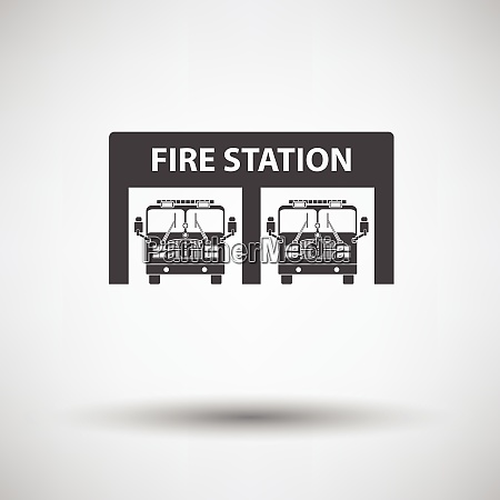 fire station icon on gray background