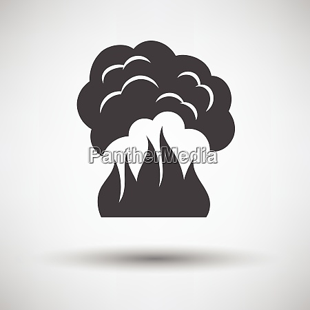 fire and smoke icon on gray