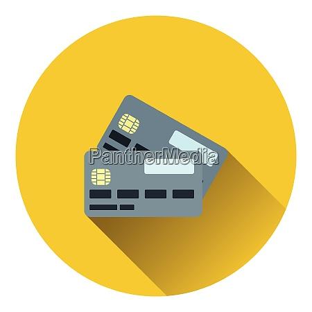 credit card icon flat color design