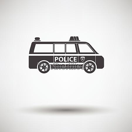 police van icon on gray background