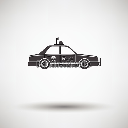 police car icon on gray background
