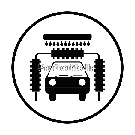 car wash icon thin circle design