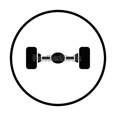 car rear axle icon thin circle