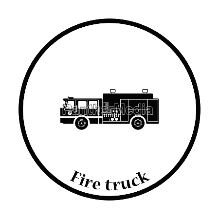 fire service truck icon thin circle