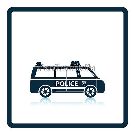 police van icon shadow reflection design