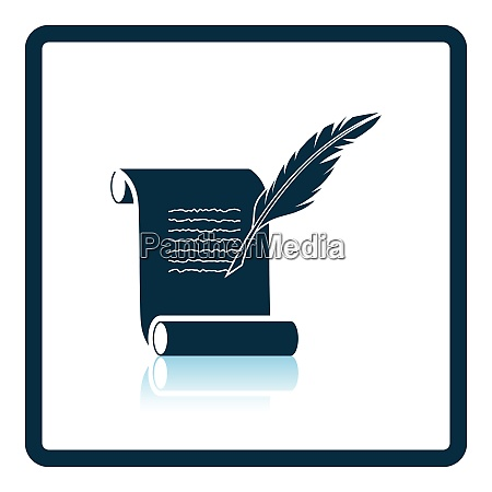 feather and scroll icon shadow reflection