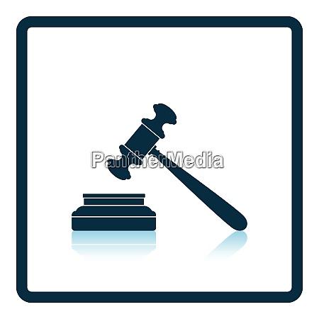 judge hammer icon shadow reflection design