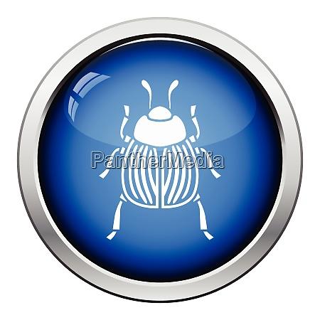 colorado beetle icon glossy button design