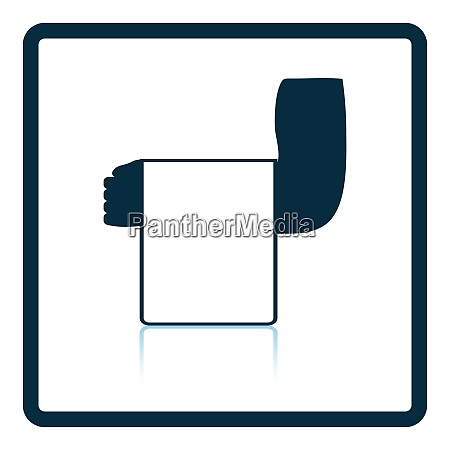 waiter hand with towel icon shadow