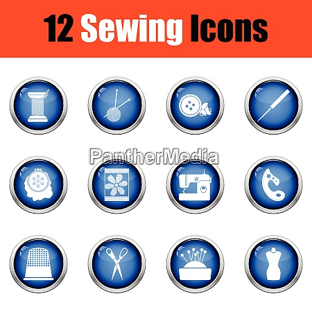 set of twelve sewing icons
