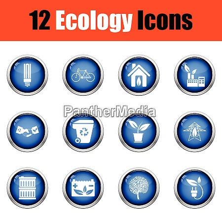 ecology icon set glossy button