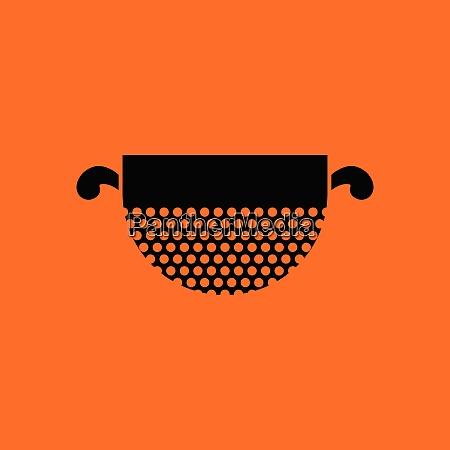 kitchen colander icon orange background with