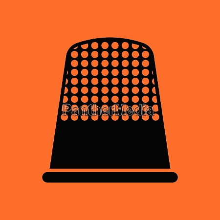 tailor thimble icon orange background with