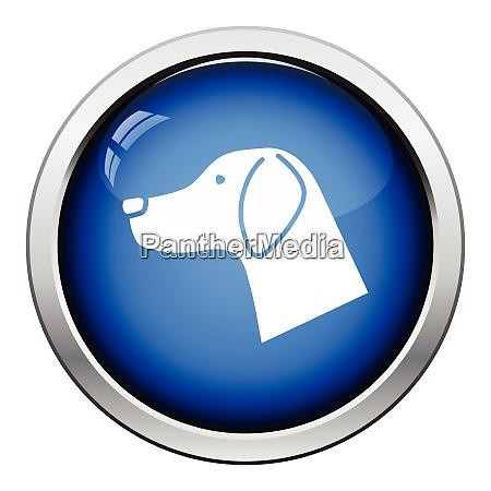 dog head icon glossy button design