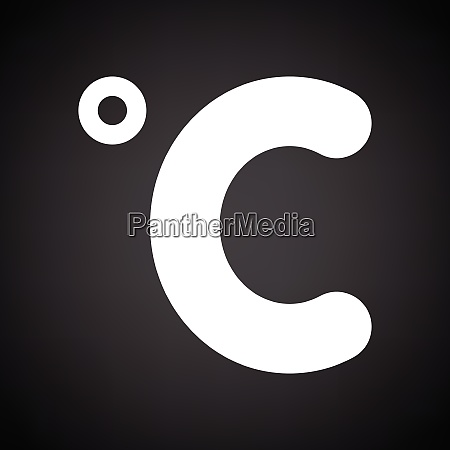 celsius degree icon black background with