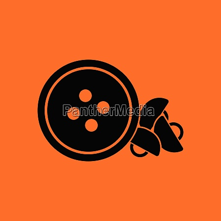 sewing buttons icon orange background with