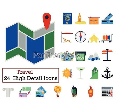 set of 24 travel icons flat