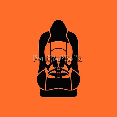 baby car seat icon orange background