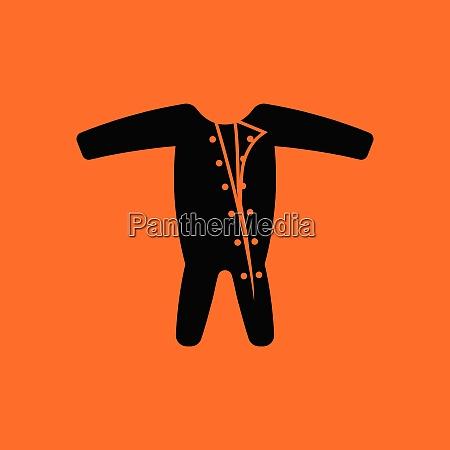 baby onesie icon orange background with