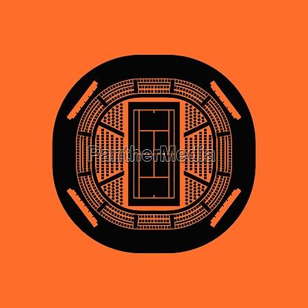 tennis stadium aerial view icon orange