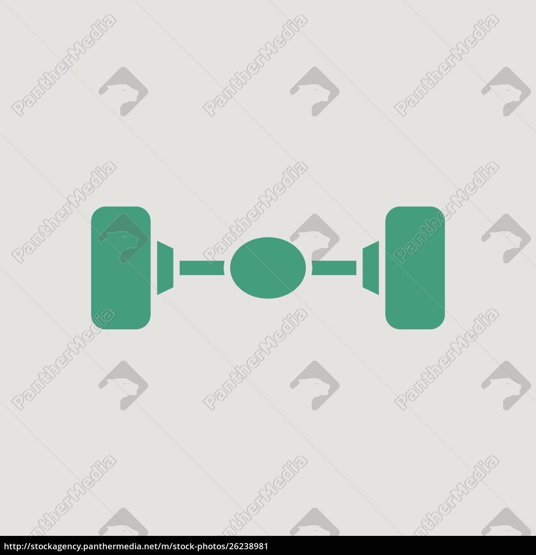 car, rear, axle, icon., gray, background - 26238981