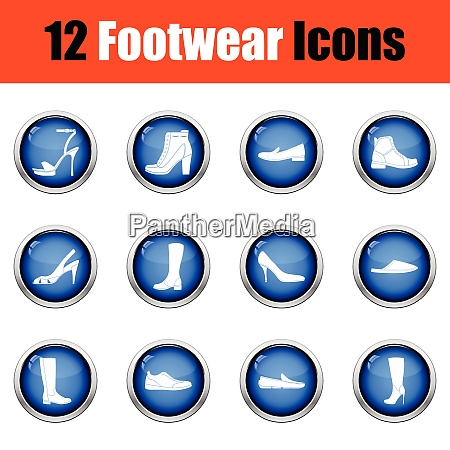 set of footwear icons glossy